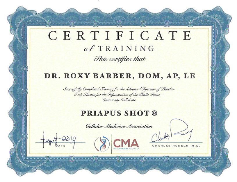 roxy-barber-cma-certificate-priapus-shot