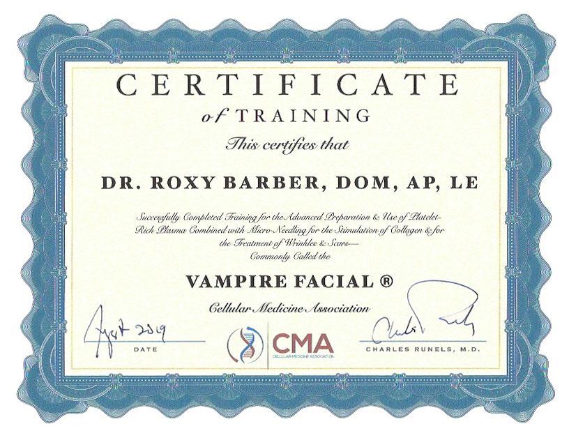 roxy-barber-cma-certificate-vampire-facial